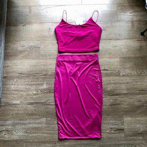 NWT ReVamped Pink Bodycon Crop Top/Skirt Set